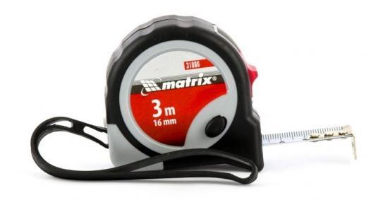 Рулетка Continuous fixation, 3 м х 16 мм, двухкомпонентный корпус, плавная фиксация// Matrix