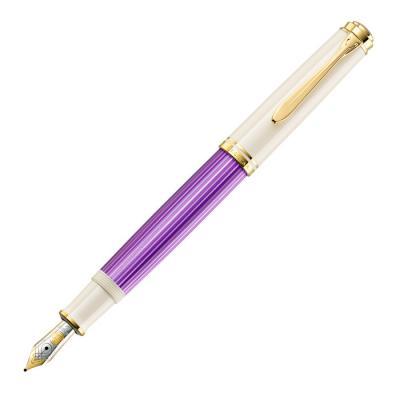 цена на Ручка перьевая Pelikan Souveraen M600 (PL811880) фиолетовый/белый F перо золото 14K покрытое родием подар.кор.экскл.