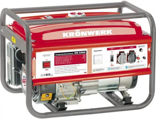 Генератор бензиновый KB 5000, 5,0 кВт, 220В/50Гц, 25 л, ручной старт// Kronwerk бензиновый генератор zongshen kb 6000e 1t90df601