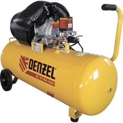 Компрессор воздушный PC 2/100-360, 2.3 кВт, 360 л/мин, 100л, 10 бар// Denzel компрессор воздушный pc 2 100 360 2 3 квт 360 л мин 100л 10 бар denzel