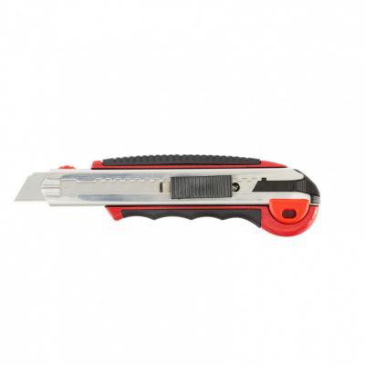 Нож, 18 мм, выдвижное лезвие, метал. направляющая, обрезиненная ручка + 5 лезвий// Matrix