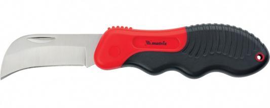 Нож электрика, складной, изогнутое лезвие, эргономичная двухкомпонентная рукоятка// Matrix