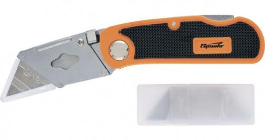 Фото - Нож, 18 мм, складной, пластиковая двухкомп рукоятка ,сменное трапециевидное лезвие,+5 лезв.// Sparta нож складной 200 мм загнутое лезвие деревянная ручка sparta