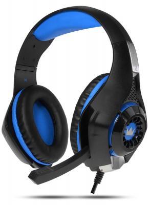 Гарнитура игровая CROWN CMGH-102T Black&blue (Подключение USB, встроенная аудио карта, Частотныи? диапазон: 20Гц-20,000 Гц ,Кабель 2.1м,Размер D 250мм)