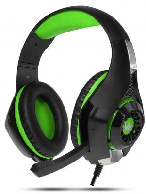 Игровая гарнитура проводная Crown CMGH-102T Black&green черный зеленый