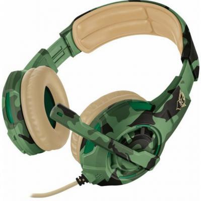 Гарнитура TRUST GXT 310C RADIUS green camo (настраиваемый микрофон,мощный звук,Кабель 1 м)