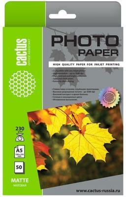 Фотобумага Cactus CS-MA523050 A5/230г/м2/50л./белый матовое для струйной печати фотобумага cactus cs ga6230100 10x15cm 230г м2 100л глянцевая для струйной печати