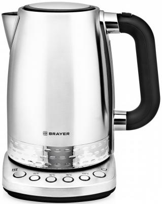 1002BR Электрический чайник BRAYER, 1,7 л, Нерж.сталь, Выбор t. 70-100, Поддерж t. 2 часа, Фильтр