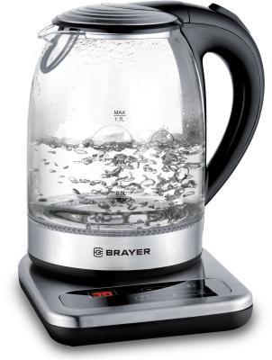 Фото - 1003BR Электрический чайник BRAYER, 1,7 л, стекл., подставка, 40-100 °С, Под. t, подсветка, черн. подставка