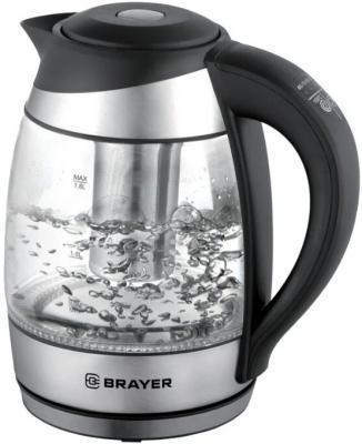 1021BR Электрический чайник BRAYER, 1,7 л, стекло, элек.управл, 60-100 °С, Под. t, подсветка, черн.