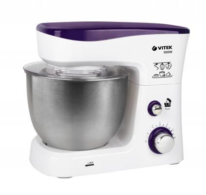 1443-VT(W) Кухонная машина VITEK мощность 1000 Вт.Cтальная чаша вместимостью 3,5 л.6 скорост.режимов