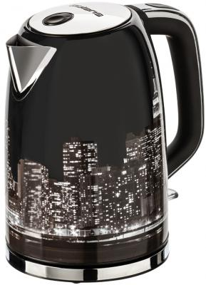 Фото - Чайник электрический Polaris PWK 1762CA City 1.7л. 2200Вт черный/рисунок (корпус: нержавеющая сталь) чайник электрический polaris pwk 1743c 1 7л 2200вт голубой