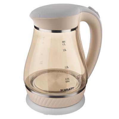 лучшая цена Чайник электрический Scarlett SC-EK27G83 1.7л. 2200Вт бежевый (корпус: стекло)