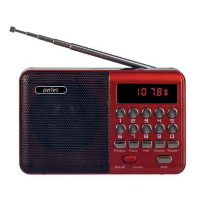Perfeo радиоприемник цифровой PALM FM+ 87.5-108МГц/ MP3/ питание USB или 18650/ красный (i90-BL)