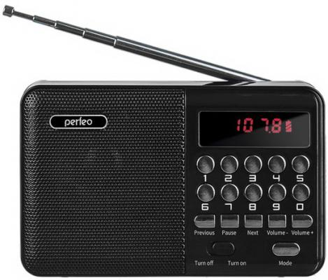 Perfeo радиоприемник цифровой PALM FM+ 87.5-108МГц/ MP3/ питание USB или 18650/ черный (i90-BL)