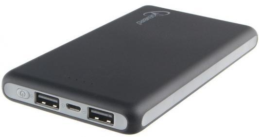 Gembird GPB-102 Портативный аккумулятор 10000мА/ч,USB1: 2,1A, USB2: 2.1A, черный (2.4A Max)