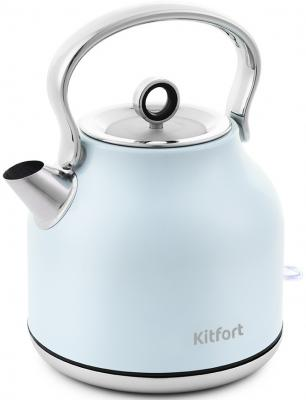 Фото - Чайник электрический KITFORT КТ-671-3 2200 Вт голубой 1.7 л нержавеющая сталь чайник электрический kitfort кт 670 4 2200 вт голубой 1 7 л металл пластик