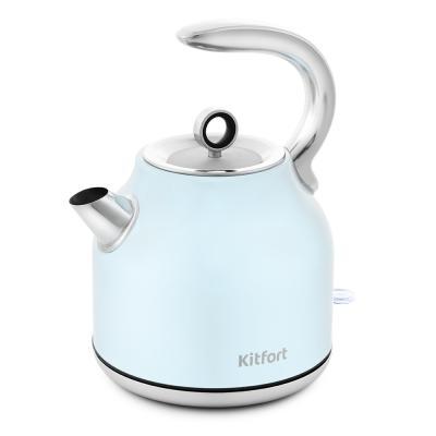 Фото - Чайник электрический KITFORT КТ-675-2 2200 Вт голубой 1.7 л нержавеющая сталь чайник электрический kitfort кт 675 1 2200 вт белый 1 7 л нержавеющая сталь