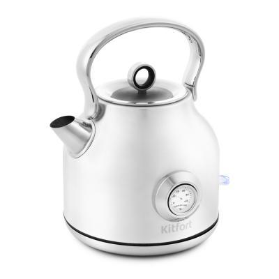 Фото - Чайник электрический KITFORT КТ-673-1 2200 Вт белый 1.7 л нержавеющая сталь чайник электрический kitfort кт 667 1 1150вт белый