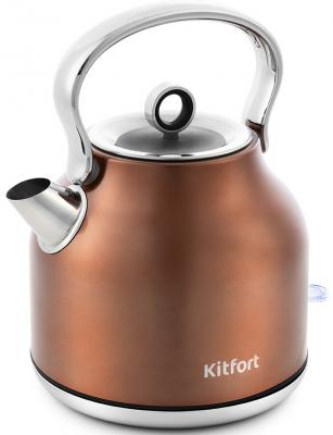 671-5-КТ Чайник Kitfort Мощность: 1850–2200 Вт.Емкость: 1,7 л.Длина шнура: 0,78 м.Бронзовый чайник росинка эч 0 5 0 5 220 beige