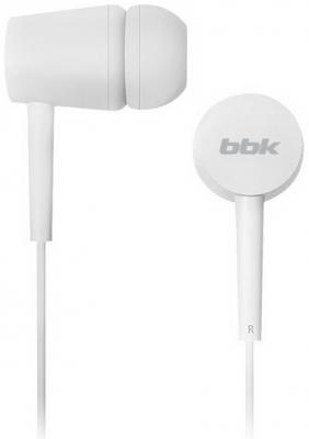 Наушники вкладыши BBK EP-1002S 1.2м белый проводные (в ушной раковине) цена и фото