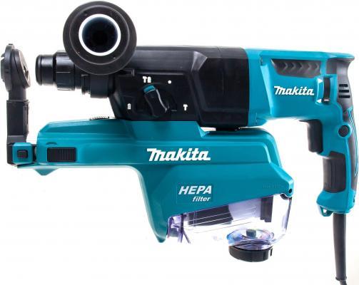 Makita HR2652 Перфоратор SDS-Plus [HR2652] { SDS+,800Вт,3реж,2.9Дж,0-4600у\\м,3.0кг,чем,комплект д\\сбора пыли с фильтром HEPA } перфоратор makita hr3541fc 850вт
