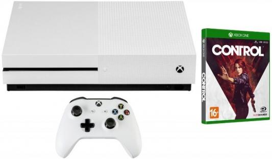 Игровая консоль Microsoft Xbox One S белый в комплекте: игра: Control цена и фото