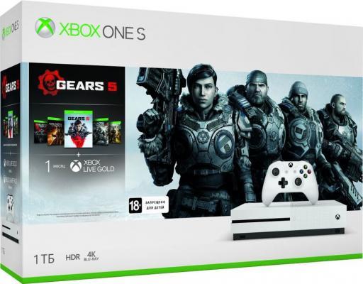 Игровая консоль Microsoft Xbox One S 234-01030 белый в комплекте: игра: Gears 5 цена и фото