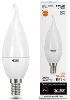 GAUSS 34116 Светодиодная лампа LED Elementary Свеча на ветру 6W E14 420lm 3000K 1/10/50 0