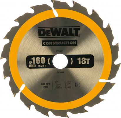 Пильн.диск CONSTRUCTION п/дер. с гвоздями 160/20 18 ATB +20° DeWalt