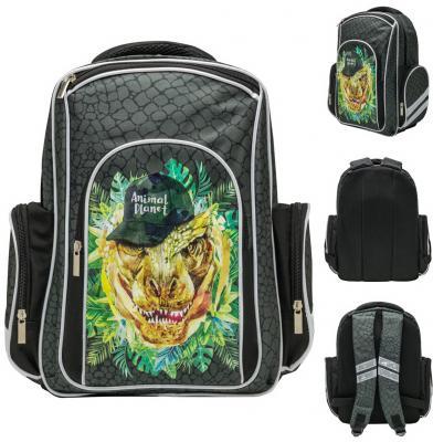 Рюкзак ANIMAL PLANET DINO COOL, разм.37x26x12 см,уплотненная спинка,световозвр.элементы,д/мальчиков