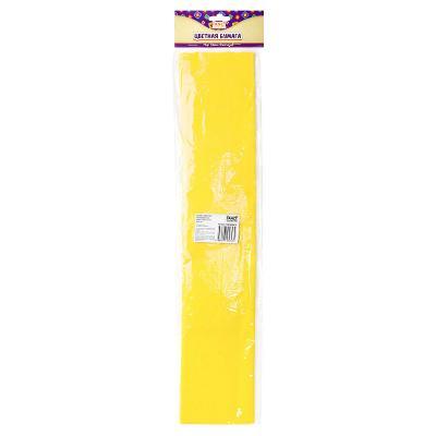 Бумага цветная, крепированная, рулон 250 х 50 см, желтая
