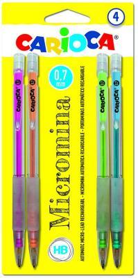 Набор карандашей автоматических, 0,7 мм, прорезиненный пластик, круглый, ассорти, с ластиком, CARIOCA, (4 шт в уп), блистер е/п