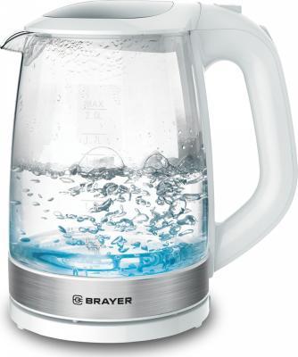1040BR-WH Электрический чайник BRAYER Электрический чайник BRAYER, 2 л, стекл., белый. цена