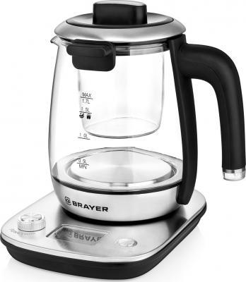 1004BR Электрический чайник BRAYER Электрический чайник BRAYER, 1,7 л, стекл., подставка, 11 функций цена