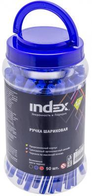 Фото - Ручка шариковая, 1 мм, синий цв., прорезиненный пластик корп., INDEX ручка гелевая 0 7 мм черный цв рифление пластик корп index bimberi