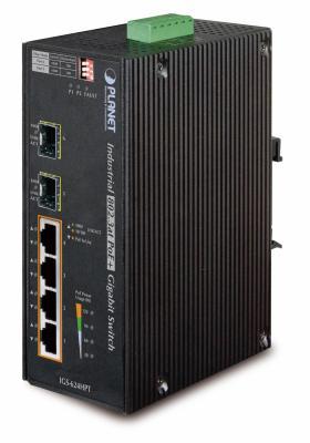 IP30 6-Port Gigabit Switch with 4-Port 802.3AT POE+ plus 2-port 100/1000X SFP (-40 to 75 C)