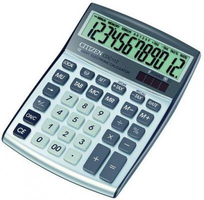 Калькулятор настольный 12 разр. 2-е питание TAX конвертор валют MU 130*174*33мм, серебр.