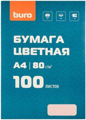 Бумага Buro BURO-100Р A4/80г/м2/100л./розовый пастель общего назначения(офисная) бумага cactus cs opb a480250 a4 80г м2 250л белый cie153% общего назначения офисная