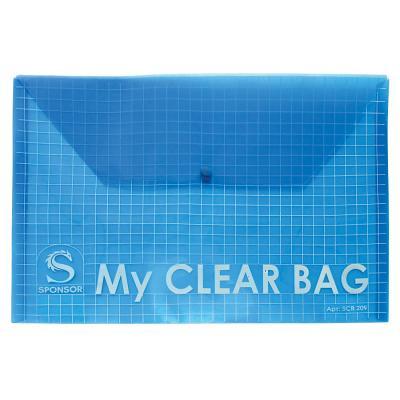 Папка-конверт с кнопкой MY CLEAR BAG, ассорти, прозрачная, ф.A4, 180мкм