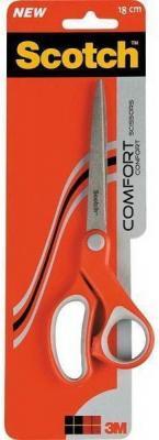 Ножницы канцелярские, 180 мм, асимметричные ручки, пластик с резиновыми вставками, красно-серый цвет, SCOTCH, COMFORT, блистер с е/п