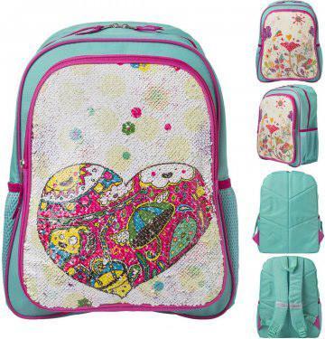 Рюкзак ACTION, размер 40х31х14 см,с двустор.цв.пайетками Сердце/Цветы, мягкая спинка, д/девочек