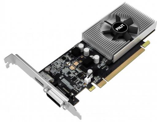 Видеокарта Palit PCI-E PA-GT1030 2GD5 BULK nVidia GeForce GT 1030 2048Mb 64bit DDR5 1227/6000 DVIx1/HDMIx1/HDCP Bulk видеокарта powercolor pci e ax5450 2gbk3 shv7e amd radeon hd 5450 2048mb 64bit ddr3 650 800 dvix1 hdmix1 crtx1 hdcp ret