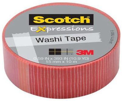 Лента клейкая декоративная SCOTCH Washi, полоски, 15мм x 10м