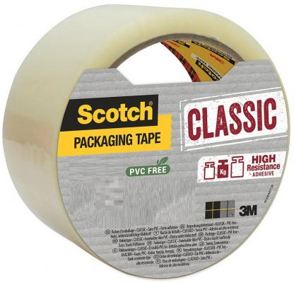 Упаковочная клейкая лента Scotch Classic ХОТ МЕЛТ с повышенной клейкостью, прозрачная, 48ммх 50м