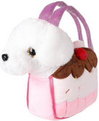 Купить Щенок 21см бел. в сумочке пирожное, Fluffy Family, Животные