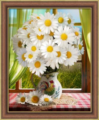 цена на Алмазная живопись Ромашки у окна, 40*50 см