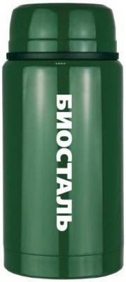 750G-NTS Термос БИОСТАЛЬ-ОХОТАс широкой горловиной, суповой, С ЛОЖКОЙ, цвет ЗЕЛЕНЫЙ КЕДР, 0.75