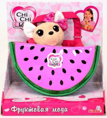 Плюшевая собачка Chi-Chi love Фруктовая мода, с сумочкой, 18см.