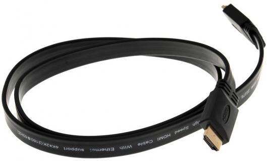 Фото - Кабель HDMI 1м VCOM Telecom CG522F-1M плоский черный разветвитель hdmi spliitter 1 4 3d full hd vcom 1 4v [vds8040d] каскадируемый сплиттер на 4 монитора телевизора